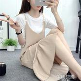 吊帶洋裝女韓版學院風氣質顯瘦荷葉邊背帶裙中長裙女 韓語空間