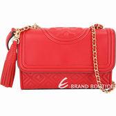 TORY BURCH Fleming 小款菱格絎縫流蘇飾鍊帶包(紅色) 1820148-A8