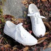 小白鞋 韓版女低幫系帶小白鞋透氣休閒鞋文藝范顯瘦帆布鞋護士鞋 巴黎春天