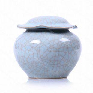 陶瓷大號茶具錫密封罐醒茶罐/哥窯金絲鐵線荷葉茶葉罐
