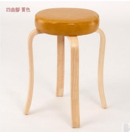 創意家用高腳凳子多功能餐椅小板凳實木小椅客廳沙發凳圓凳(主圖款四曲腳 黃色)