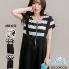 *孕婦裝*青春洋溢假吊帶黑白條紋拼接孕婦哺乳(側掀式)洋裝 黑----孕味十足【COC6085】