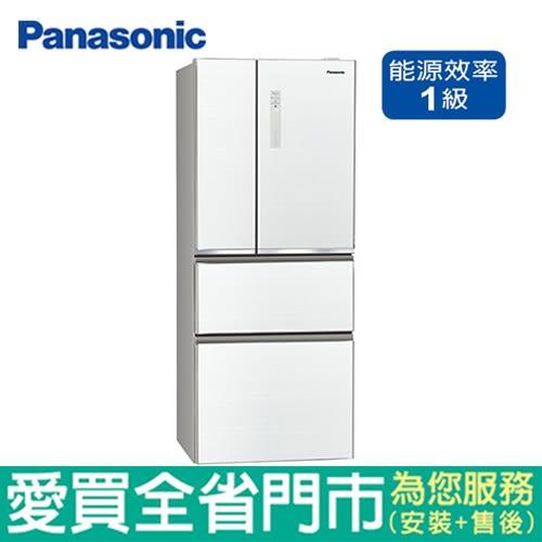 Panasonic國際500L四門玻璃變頻冰箱NR-D500NHGS-W含配送到府+標準安裝【愛買】