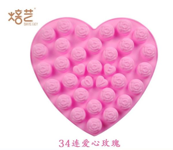 【狐狸跑跑】34連心形愛心玫瑰LOVE 浪漫滿屋矽膠巧克力模具 矽膠果凍布丁模具