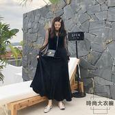 時尚小黑裙胖MM法式復古裙過膝長裙顯瘦連身裙大碼【時尚大衣櫥】