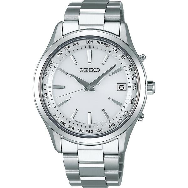 【台南 時代鐘錶 SEIKO】精工 SPIRIT 太陽能電波時尚腕錶 SBTM269J@7B27-0AA0S 白銀 40mm