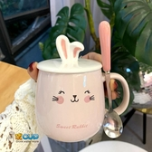 馬克杯少女心兔耳朵馬克杯兔子水杯陶瓷杯韓版女學生可愛早餐咖啡杯子霓裳細軟