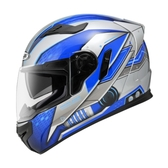 【OUTLET出清商品】ZEUS ZS-813 AN19彩繪 銀-藍色 全罩安全帽