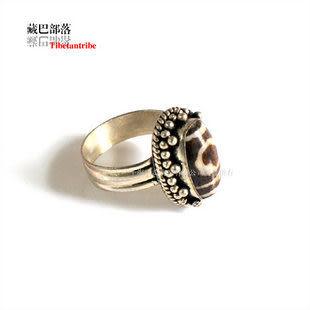 鑲犛牛骨藏銀食指指環