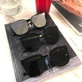 太陽眼鏡方形墨鏡一體平面鏡片太陽鏡男女圓臉時尚太陽鏡 喵小姐