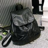 新款女包簡約雙肩包韓版水洗皮旅行後背包休閒學院風學生書包     芊惠衣屋