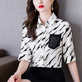 雪紡襯衫斑馬紋S-2XL短袖上衣設計感小衆時尚高檔洋氣減齡小衫N120.9332 胖丫