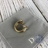 BRAND楓月 Christian Dior CD 迪奧 三圈開口戒指 #M 個性 多層 粉鑽 配飾 配件 飾品 飾物