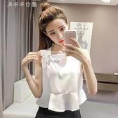 夏裝小清新韓版寬鬆娃娃衫外穿打底無袖背心女短款雪紡上衣t恤女「千千女鞋」