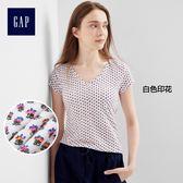 Gap女裝 純棉V領印花女士短袖T恤 柔軟彈力內搭上衣女 231949-白色印花