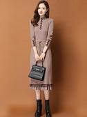 長袖洋裝 2021年新款秋冬針織連衣裙女中長款氣質長袖打底內搭蕾絲毛衣裙子 霓裳細軟