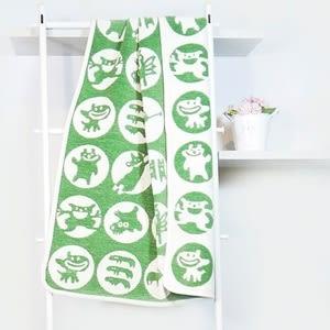 瑞典Klippan有機棉毯--調皮小怪物(綠)