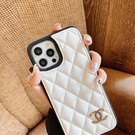 ins菱格小香風適用蘋果12promax手機殼新款iPhone11簡約風xr高檔皮質 pinkq時尚女裝