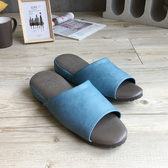 【iSlippers】極致風格-厚跟紓壓皮質室內拖鞋-多色任選舒沁藍XL