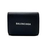 【台中米蘭站】全新品 Balenciaga 經典Logo黑牛皮三折拉鍊零錢袋壓釦短夾(655622-黑)