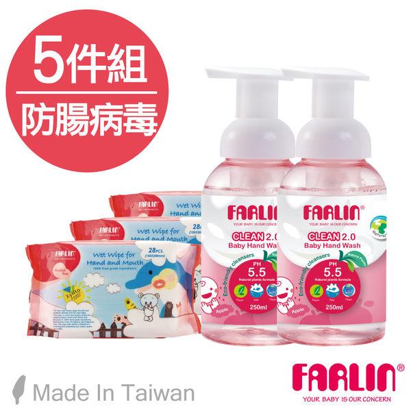 【FARLIN】抗腸病499毒五件組(幼兒天然洗手乳250mlx2+木醣醇手口濕紙巾28抽x3)