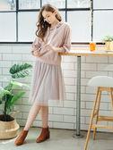 秋裝上市[H2O]整圈鬆緊帶點點網紗多層及膝大圓裙 - 黑/灰/粉色 #8632015