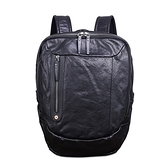 真皮後背包-牛皮大容量電腦包多隔層男雙肩包73xp32[時尚巴黎]
