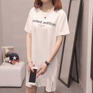 【GZ45】長版上衣 韓版字母印花下擺開叉寬鬆短袖上衣 洋裝