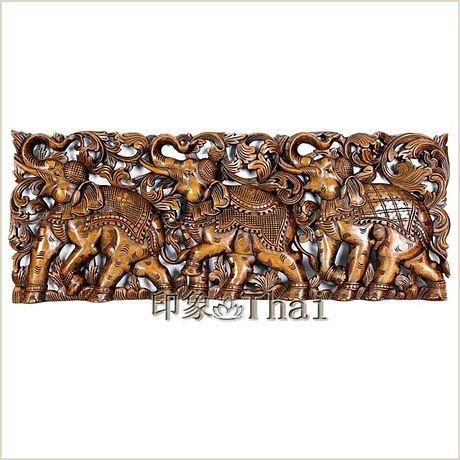 工藝品 柚木手工雕刻象群雕花板 沙發背景牆浮雕畫