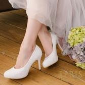 現貨 MIT小中大尺碼圓頭高跟鞋 甜心女神 前高後高亮片真皮鞋墊舒適高跟鞋 21-27 EPRIS艾佩絲-浪漫白