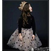 女童紗裙 童裝女童秋冬爆款純棉螺紋星星長袖連身裙蓬蓬裙禮服裙 寶貝計畫