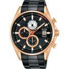 廣告主打 ALBA雅柏 年輕世代計時手錶-黑x玫塊金/43mm VD57-X136K(AM3598X1)