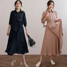 現貨-MIUSTAR 兩件式!雪紡襯衫+一片式百褶裙(共2色)【NJ0795】