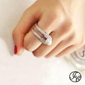 時尚大牌鋯石珍珠戒指食指戒指 18K真白金 (0302)