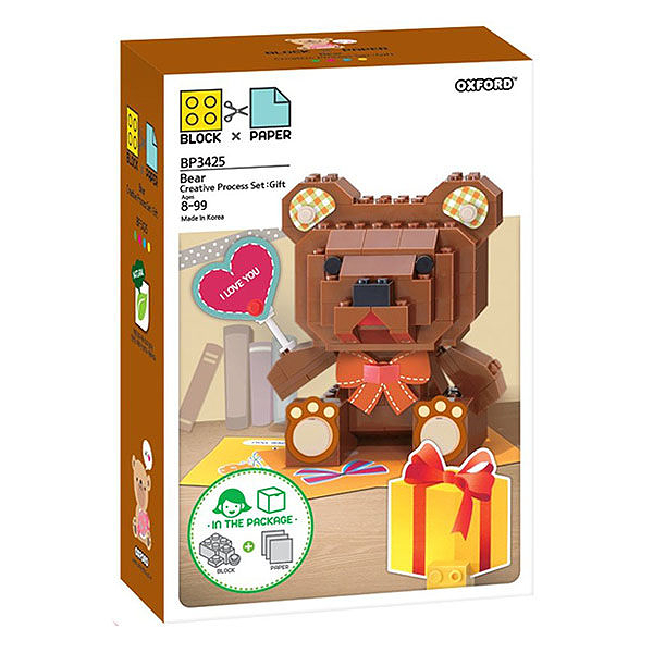 【OXFORD BLOCK】創意主題積木-禮物小熊 OX94205