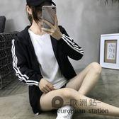 連帽外套/情侶原宿風短女潮新款春秋裝寬鬆百搭韓版學生運動上衣