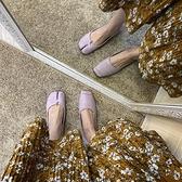 復古方頭高跟單鞋紫色浪漫豬蹄分趾軟底平底奶奶鞋【小酒窩服飾】