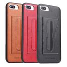 【默肯國際】 Fierre Shann 簡約系列 iPhone 7/8/SE2 7/8 Plus立架 插卡 磁吸 單底背蓋 仿真皮紋PU 保護殼
