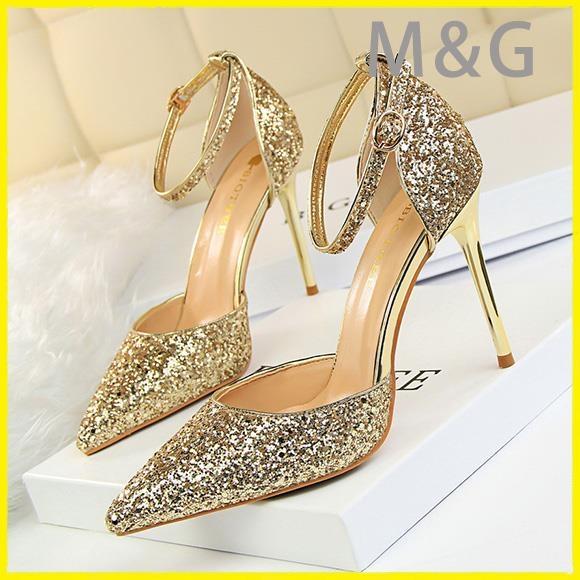 MG 金色高跟鞋水晶公主鞋金色亮片高跟鞋細跟婚鞋銀色新娘尖頭女涼鞋