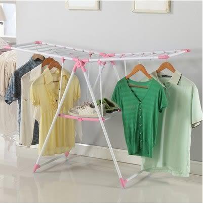 小熊居家家用晾衣架落地折疊室內曬衣架毛巾架嬰兒晾衣架尿布架防鏽  粉紅色特價