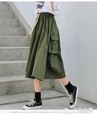 日系工裝半身裙大碼女裝胖mm日式寬鬆a字中長款森系傘裙牛仔裙 三角衣櫃