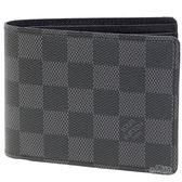 【Louis Vuitton 路易威登】N62663 Damier 經典棋盤格短夾 (黑X灰)
