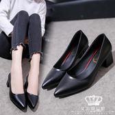 跟鞋 高跟鞋女中跟正韓尖頭淺口女士灰色單鞋工作鞋 交換禮物