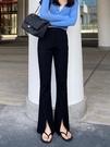黑色高腰開叉微喇叭褲子女2021春夏新款休閒垂感拖地顯瘦闊腿長褲 果果輕時尚