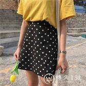 夏裝女裝韓版寬松百搭波點可愛開叉A字裙學生高腰顯瘦半身裙短裙