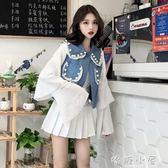 秋季女裝韓版學院風長袖拼接牛仔大珍珠假兩件短款開衫上衣外套潮  嬌糖小屋