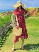 三亞沙灘裙海灘裙法式紅色波點連身裙女夏復古赫本風度 優尚良品