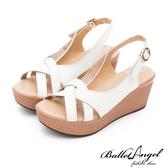 楔型涼鞋 夏日微風美型真皮楔型涼鞋(白)*BalletAngel【18-766w】【現貨】
