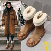 厚底雪地靴女冬季短筒短靴中筒靴子加絨加厚棉鞋【雲木雜貨】