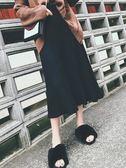 中長款黑色毛線針織a字裙子顯瘦高腰百褶半身長裙女 名購居家